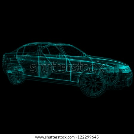 wireframe car - stock vector