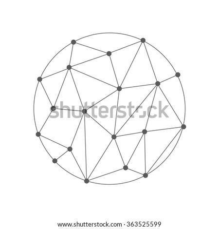 Wireframe 3D mesh polygonal vector sphere - stock vector