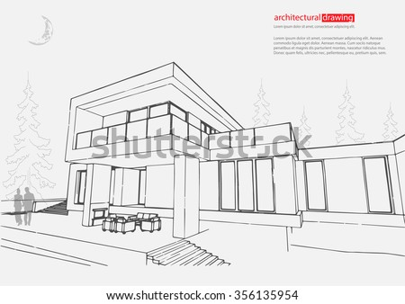 Wireframe Drawing 3d Building Vector Architectural Stock Vector ...