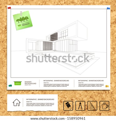 Wireframe drawing of tropical modern house on white blueprint paper background on cork board texture - Vector illustration - stock vector