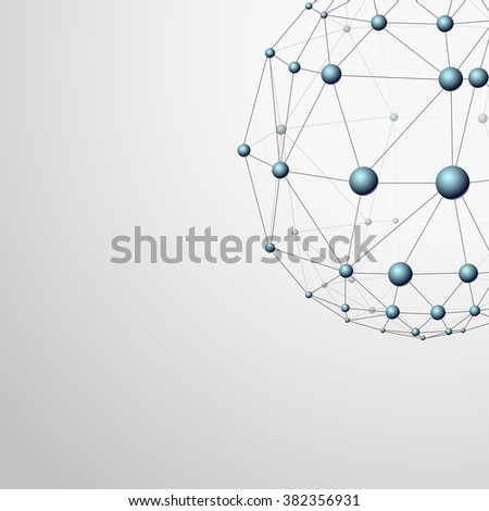 Wireframe globe with blue sphere connections, 3d vector background - stock vector