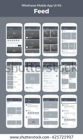 Wireframe Kit Mobile Phone Mobile App Stock-Vektorgrafik 621721907 ...