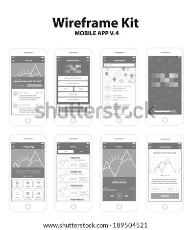 Wireframe Kit Mobile App v.4 - stock vector