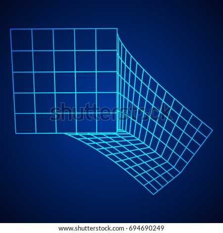 Wireframe Mesh Bend Box. Connection Structure. Digital Data Visualization Concept. Vector Illustration.