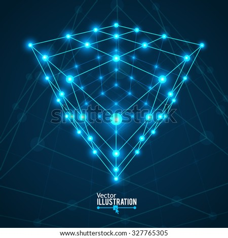 Wireframe Mesh Cube. Connected dots and lines. Connection Structure. Digital Data Visualization Concept. Vector Illustration. - stock vector
