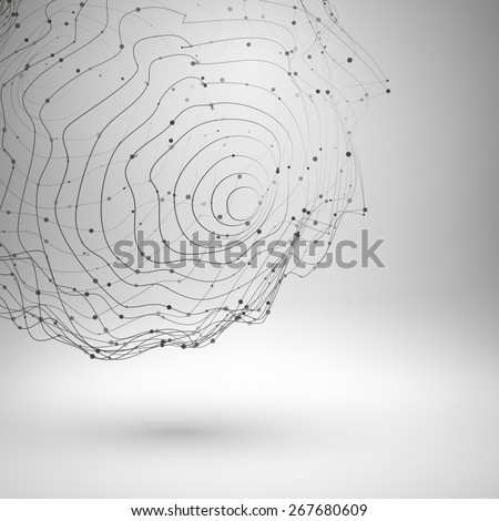 Wireframe mesh element. Abstract form connected lines and dots. Vector Illustration EPS10. - stock vector