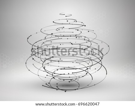 Drawing With Lines And Dots : Wireframe mesh element abstract swirl form stock vector 696620047