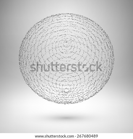Wireframe mesh element. The sphere consisting of points. Vector Illustration EPS10. - stock vector