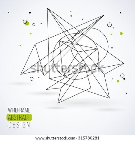 Wireframe mesh element with triangle and circle shapes. Abstract form. Connected lines. Vector Illustration. Abstract molecule design. Technology background. - stock vector