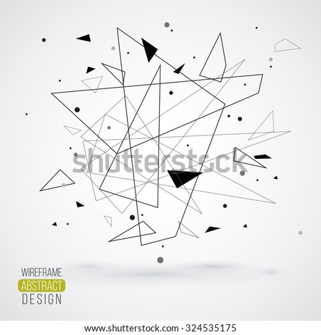 Wireframe mesh element with triangle shapes. Abstract form. Connected lines and dots. Vector Illustration. Abstract molecule design. Technology background - stock vector