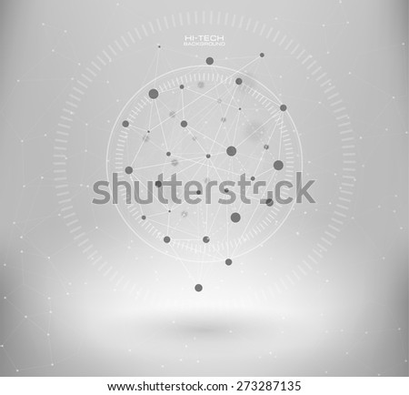 Wireframe mesh polygonal element. Abstract form with connected lines and dots. infographic elements.  Vector science Polygonal background. Futuristic HUD background. - stock vector