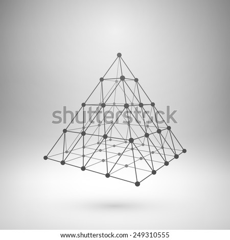 Wireframe mesh polygonal element. Pyramid with connected lines and dots. Vector Illustration EPS10 - stock vector