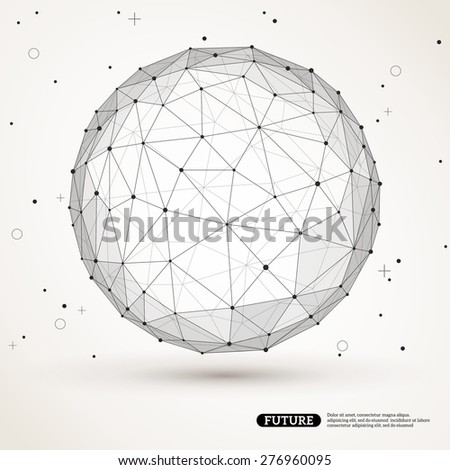 Wireframe mesh polygonal element. Sphere with connected lines and dots. Connection Structure. Geometric Modern Technology Concept. Digital Data Visualization. Social Network Graphic Concept - stock vector
