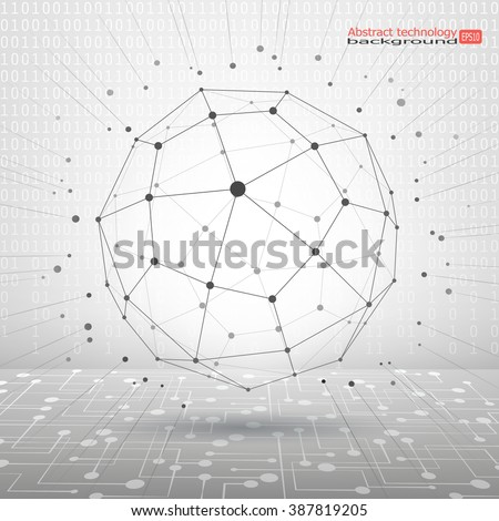 Wireframe mesh polygonal element. Sphere with connected lines and dots. 3d geometric vector background for business or science presentation.  - stock vector