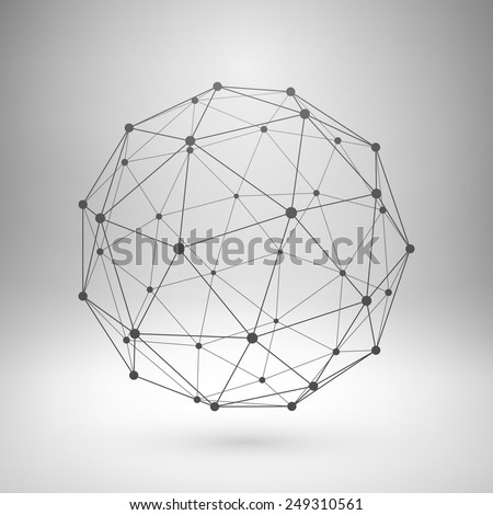 Wireframe mesh polygonal element. Sphere with connected lines and dots. Vector Illustration EPS10 - stock vector