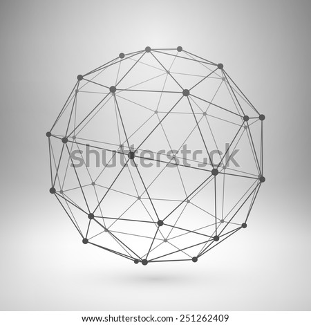 Wireframe mesh polygonal element. Sphere with connected lines and dots. Vector Illustration EPS10. - stock vector