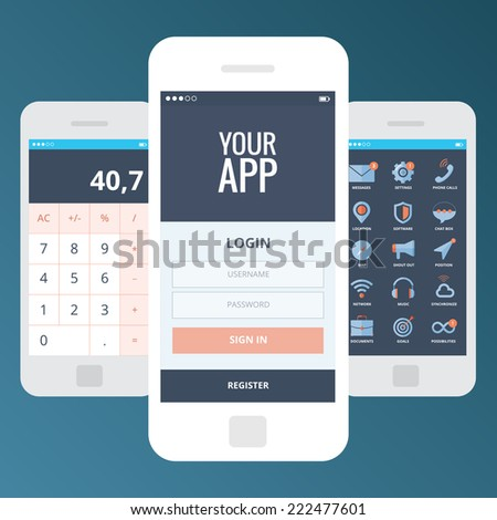Wireframe mobile app ui kit screens. Welcome screen, login screen, sign in screen, calculator screen, main menu with icons screen, message, phone, chat, speech bubble, location, megaphone, cloud, sync - stock vector