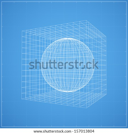 Wireframe sphere inner wireframe cubic space stock vector for Cubi spaceo