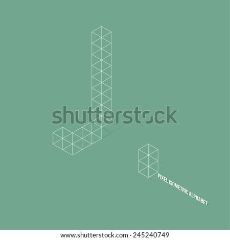 Wireframe Pixel Isometric Alphabet Letter J - Vector Illustration - Flat Design - Typography - stock vector