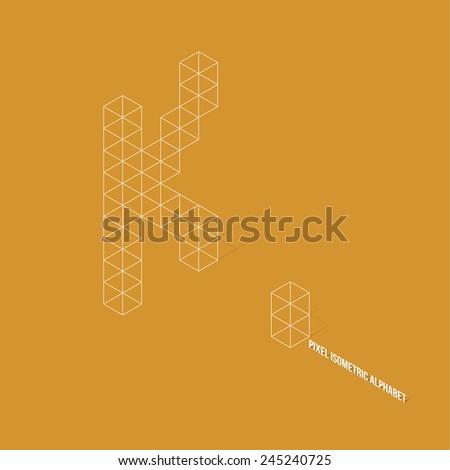 Wireframe Pixel Isometric Alphabet Letter K - Vector Illustration - Flat Design - Typography - stock vector