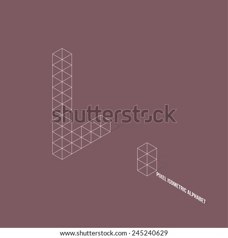 Wireframe Pixel Isometric Alphabet Letter L - Vector Illustration - Flat Design - Typography - stock vector