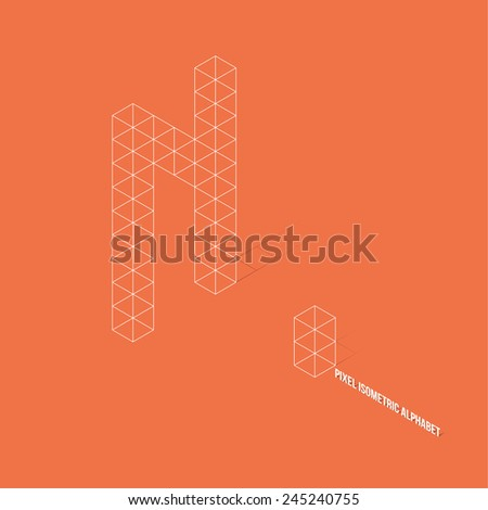 Wireframe Pixel Isometric Alphabet Letter N - Vector Illustration - Flat Design - Typography - stock vector