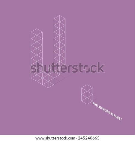 Wireframe Pixel Isometric Alphabet Letter V - Vector Illustration - Flat Design - Typography - stock vector