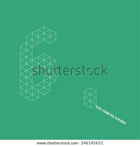Wireframe Pixel Isometric Number 6 - Vector Illustration - Flat Design - Typography - stock vector