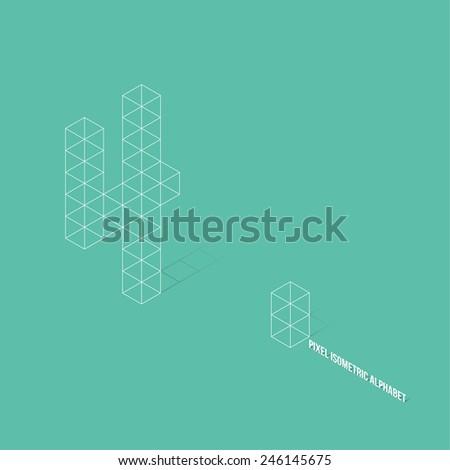 Wireframe Pixel Isometric Number 4 - Vector Illustration - Flat Design - Typography - stock vector