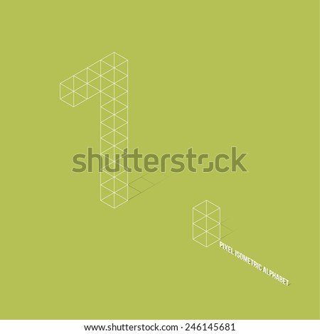 Wireframe Pixel Isometric Number 1 - Vector Illustration - Flat Design - Typography - stock vector