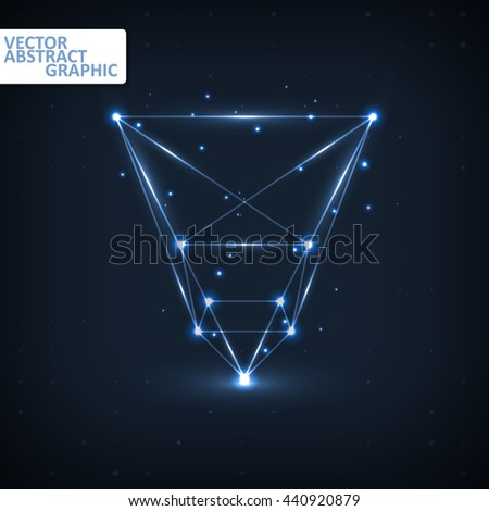 Wireframe polygonal elements, abstract futuristic vector illustration eps10 - stock vector