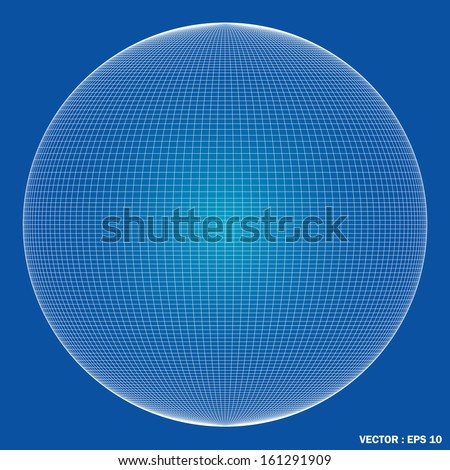 Wireframe spheres. 3d - stock vector
