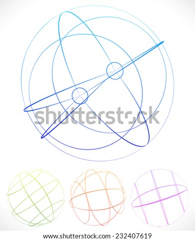 Wireframe Spherical graphics  - stock vector
