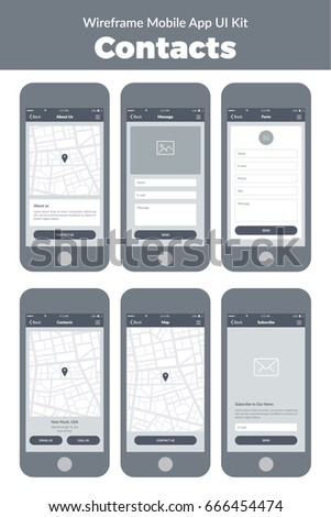 Wireframe Ui Kit Mobile Phone Mobile Stock Vector 666454474