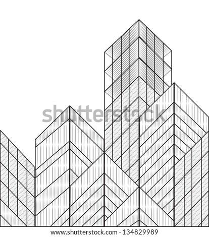 wireframe vector buildings - stock vector