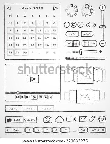 Wireframes. Hand-drawn ui web elements. Vector simple icons on white background - stock vector