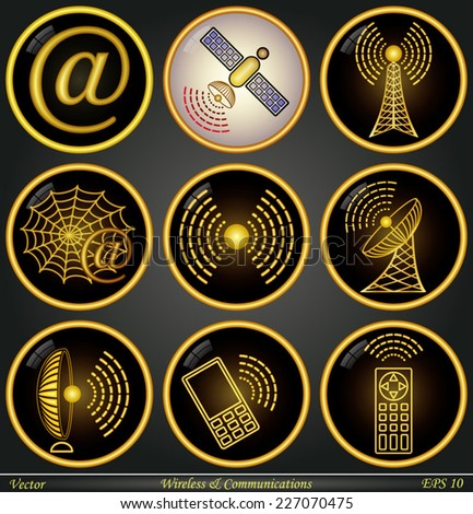 Wireless and Communications - stock vector
