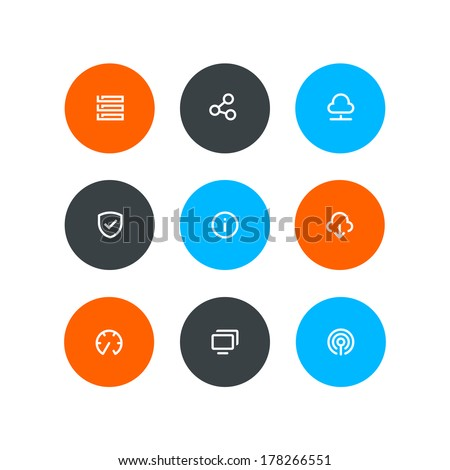 Wireless and hosting buttons - stock vector