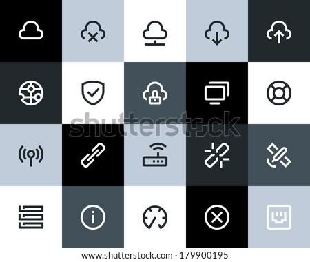 Wireless and network icons Flat - stock vector