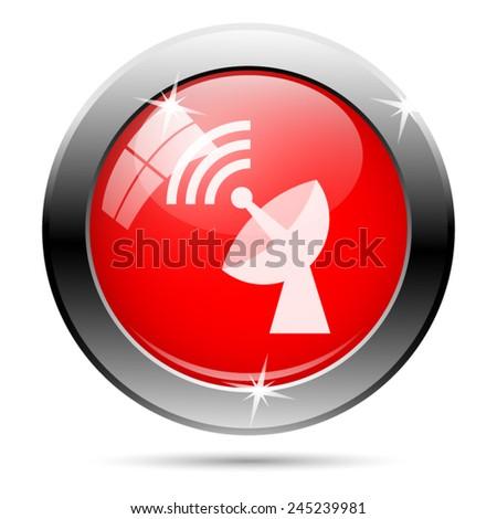 Wireless antenna icon. Internet button on white background.  - stock vector