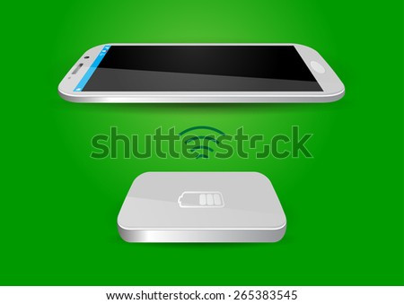 Wireless Battery Charger and Smartphone or Tablet - Vector Illustration - stock vector