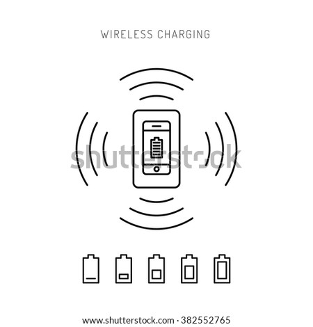 Wireless charging phones. Wireless charging phones outline. Wireless battery charge. - stock vector