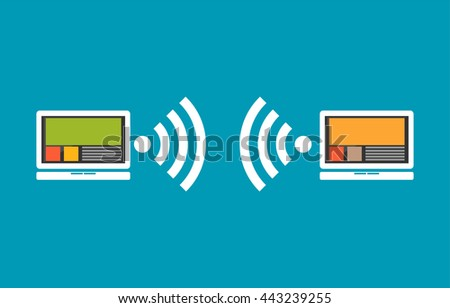 Wireless communication between devices.  - stock vector