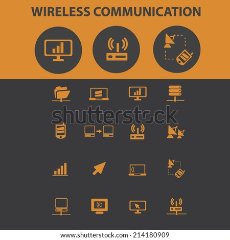 wireless communication isolated icons, signs, vectors, illustrations, silhouettes set, vector - stock vector
