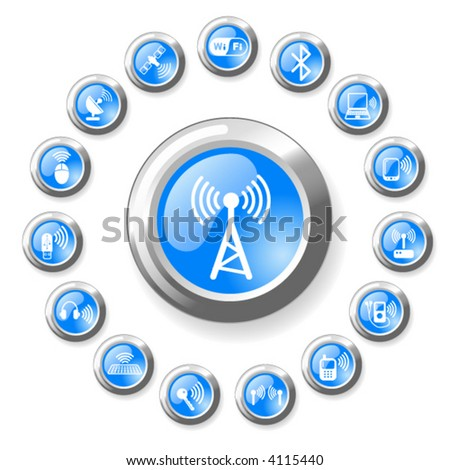 Wireless communications vector iconset - stock vector