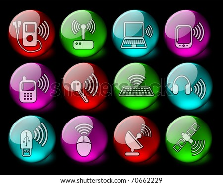 Wireless communications vector iconset - EPS10 - stock vector