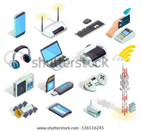 Wireless connection technology electronic gadgets and devices isometric icons collection with printer router and keyboard isolated vector illustration