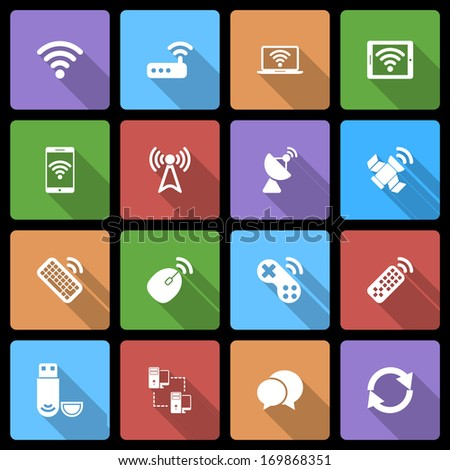 Wireless Devices Icons Set with Long Shadow - stock vector