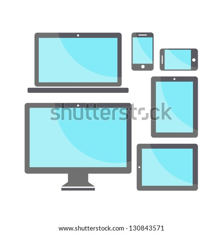 Wireless electronic devices - stock vector