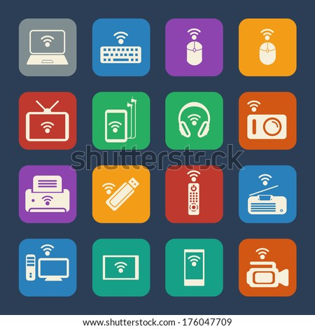 Wireless equipment and appliance icons set. Flat design for Website and Mobile applications. Vector - stock vector